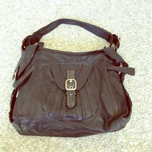 Junior Drake designer black leather handbag